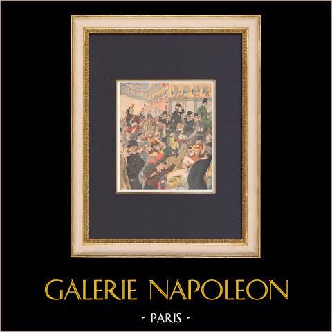 Llegada de los generales Boer a París - Estación del Norte - 1902 | Grabado xilográfico original impreso en cromotipografia. Anónimo. Reverso impreso. 1902