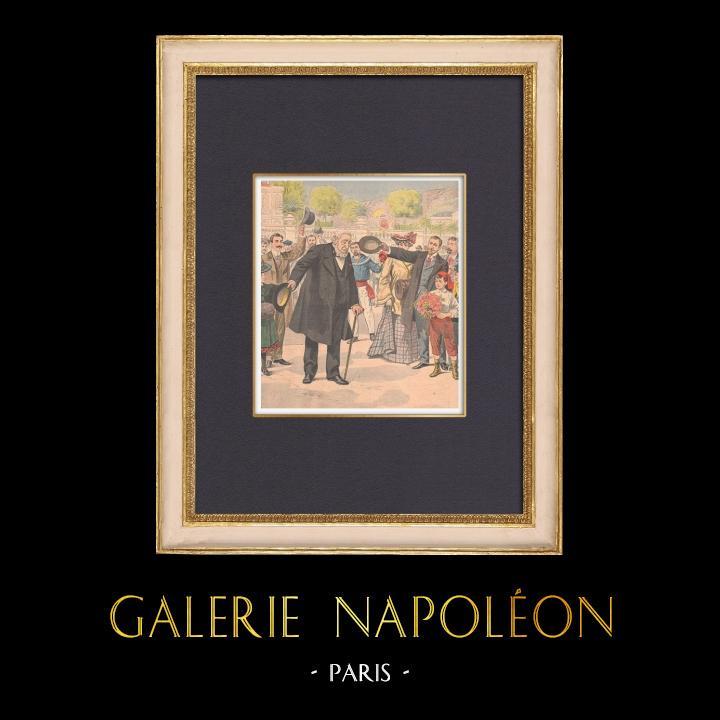 Gravures Anciennes & Dessins   Paul Kruger à Menton - France - 1902   Gravure sur bois   1902