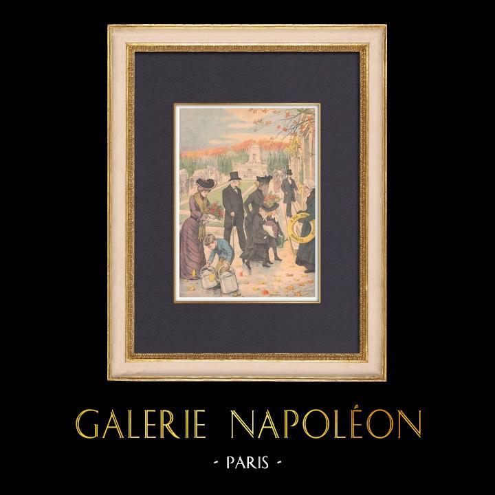 Gravures Anciennes & Dessins | Les cimetières parisiens à la Toussaint - 1902 | Gravure sur bois | 1902