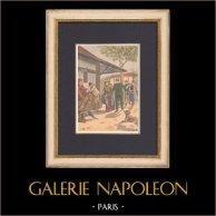 Arrestation des braconniers - Gibier - Impot - 1902 | Gravure sur bois imprimée en chromotypographie. Anonyme. Texte au verso. 1902
