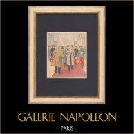 Invigningen av Museum of Fine Arts i Paris - Petit Palais - 1902 | Original träsnitt tryckt i kromotypografi. Anonym. Text på baksidan. 1902