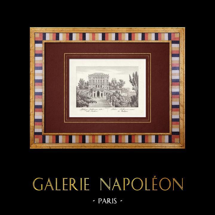 Gravures Anciennes & Dessins | Palais de Tobia Pallavicino connu sous le nom de Peschiere - Gênes - Ligurie (Italie) | Taille-douce | 1846