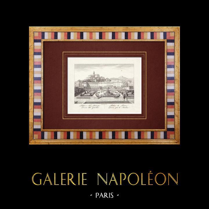 Gravures Anciennes & Dessins | La Villa del Principe - Jardin - Gênes - Ligurie (Italie) | Taille-douce | 1846