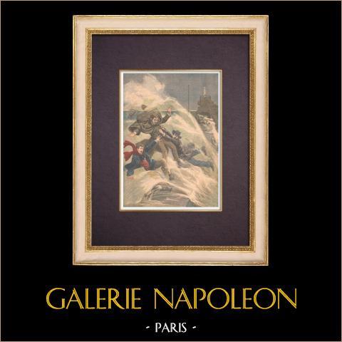 Drie Kunstenaars Verdwijnen in de zee in Biarritz - Frankrijk - 1903 |
