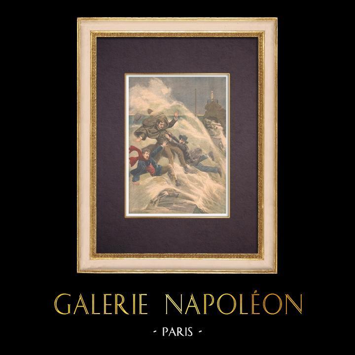 Gravures Anciennes & Dessins | Trois artistes disparaissent dans la mer à Biarritz - France - 1903 | Gravure sur bois | 1903