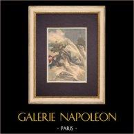 Tres artistas desaparecen en el mar en Biarritz - Francia - 1903 | Grabado xilográfico original impreso en cromotipografia. Anónimo. Reverso impreso. 1903