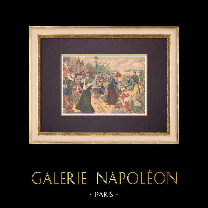 Gravures Anciennes & Dessins | Marché aux fleurs - Île de la Cité - Seine - Paris - 1903 | Gravure sur bois | 1903
