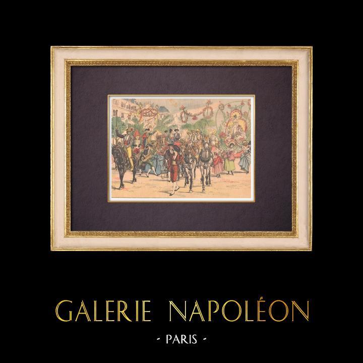 Gravures Anciennes & Dessins | Cortège du Bœuf Gras au Carnaval de Paris - La Villette - 1903 | Gravure sur bois | 1903