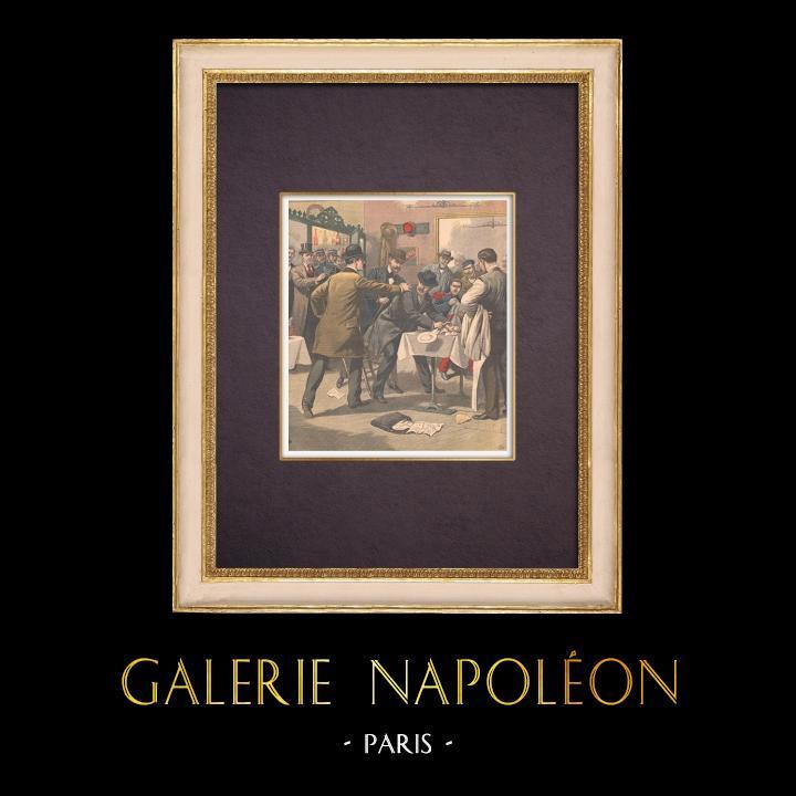 Gravures Anciennes & Dessins | Arrestation d'un espion allemand à Nancy - France - 1903 | Gravure sur bois | 1903