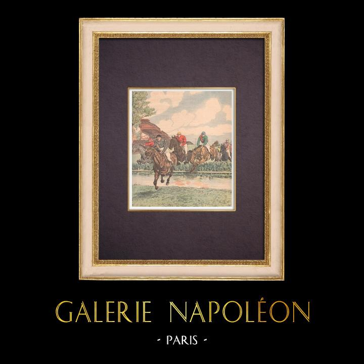 Gravures Anciennes & Dessins | Steeplechase - Obstacle - Rivière des Tribunes - Bois de Boulogne - Paris | Gravure sur bois | 1903