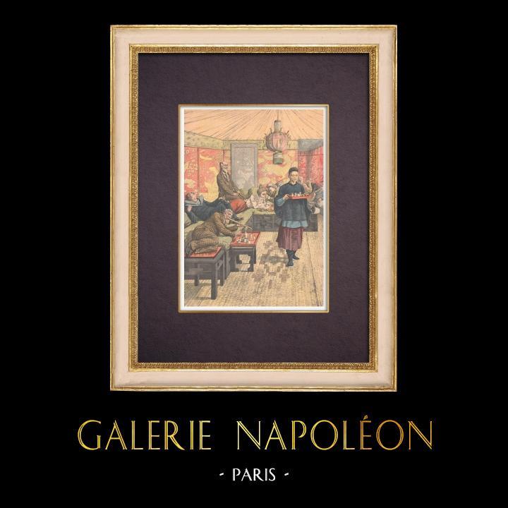 Gravures Anciennes & Dessins | Fumerie d'opium en France - Pavot - Drogue - 1903 | Gravure sur bois | 1903