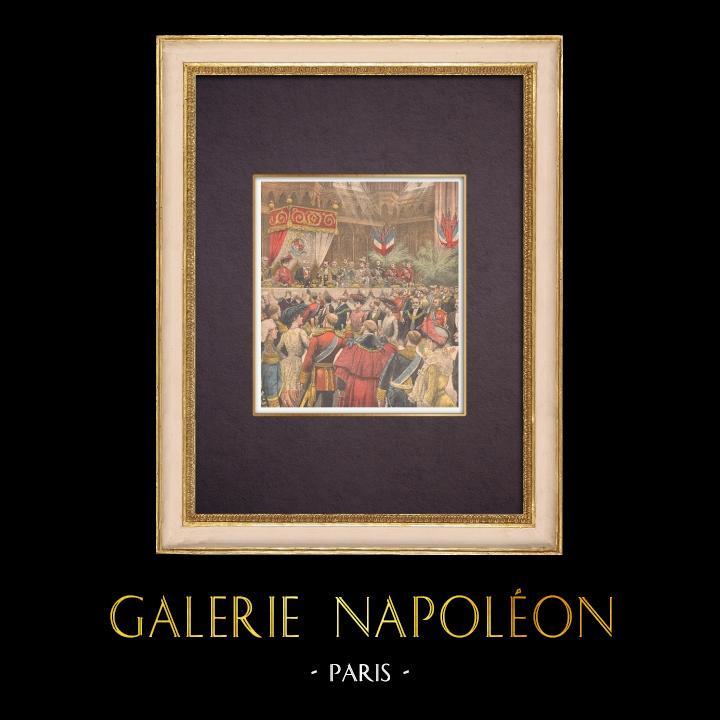 Grabados & Dibujos Antiguos | Banquete - Presidente de la República Francesa - Guildhall - Londres - 1903 | Grabado xilográfico | 1903