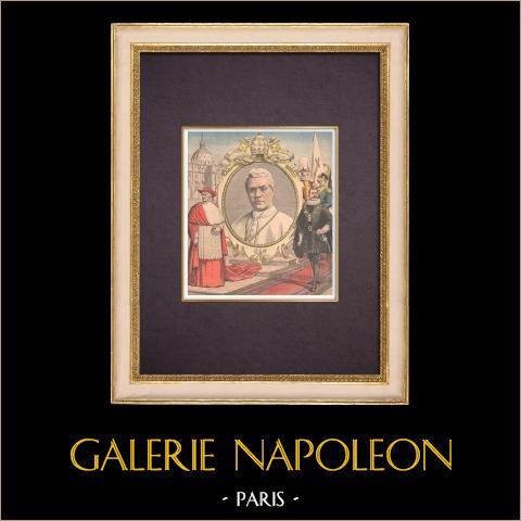 Cardinal Giuseppe Sarto proclamé Pape sous le nom de Pie X - Place Saint-Pierre - Rome - 1903 | Gravure sur bois imprimée en chromotypographie. Anonyme. Texte au verso. 1903