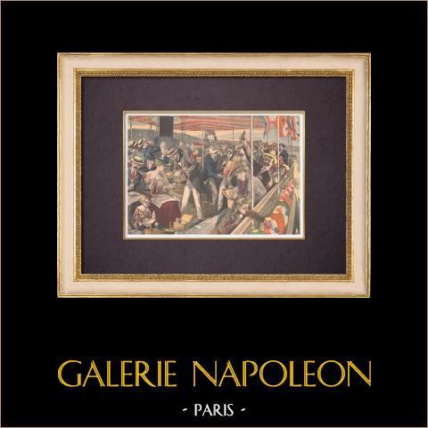 Excursion de Paris à Saint-Germain-en-Laye par la Seine - 1903 | Gravure sur bois imprimée en chromotypographie. Anonyme. Texte au verso. 1903