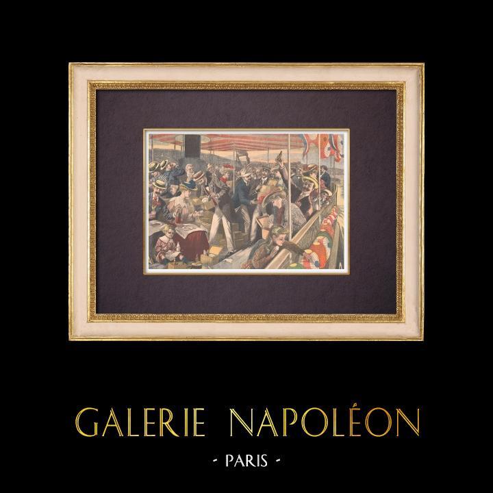 Gravures Anciennes & Dessins | Excursion de Paris à Saint-Germain-en-Laye par la Seine - 1903 | Gravure sur bois | 1903