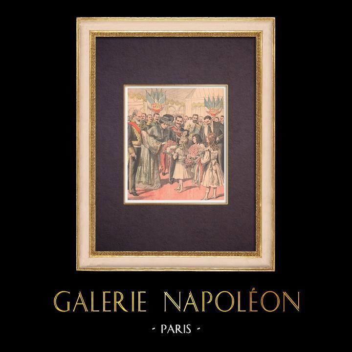 Grabados & Dibujos Antiguos   El Rey y la Reina de Italia llegan en Francia - Estación de Dijon - 1903   Grabado xilográfico   1903