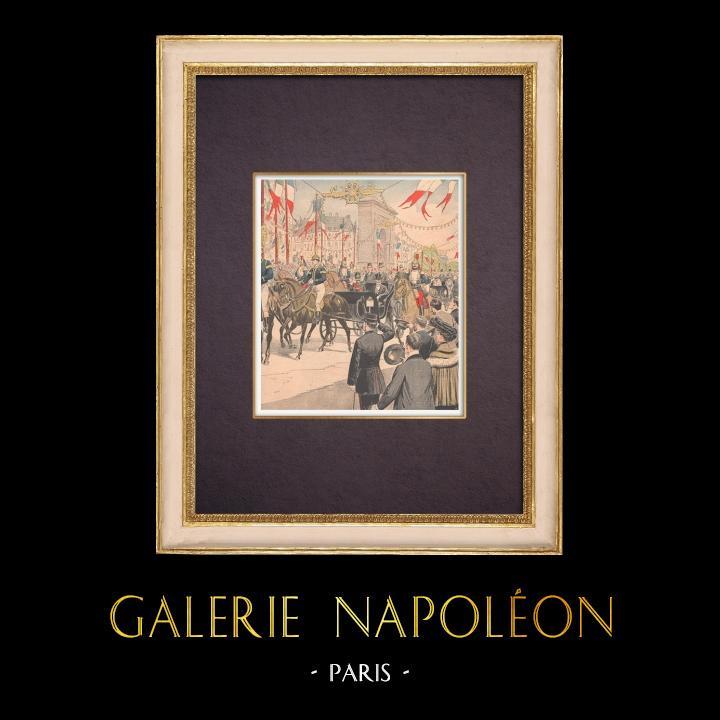 Grabados & Dibujos Antiguos | El rey y la Reina de Italia caminan por los Grands Boulevards - Paris - 1903 | Grabado xilográfico | 1903