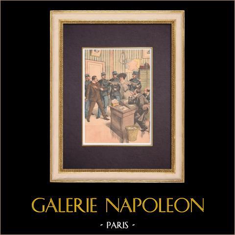 Mord - Konfrontation av Rosalie Giriat och Henri Bassot - Paris - 1903 | Original träsnitt tryckt i kromotypografi. Anonym. Text på baksidan. 1903