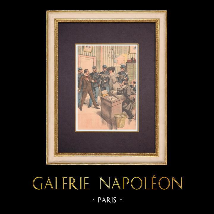 Grabados & Dibujos Antiguos | Asesinato - Confrontación de Rosalie Giriat y Henri Bassot - Paris - 1903 | Grabado xilográfico | 1903