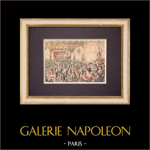 Fiesta de baile - Gran sala de reuniones - Petit Journal - Paris - 1903 | Grabado xilográfico original impreso en cromotipografia. Anónimo. Reverso impreso. 1903