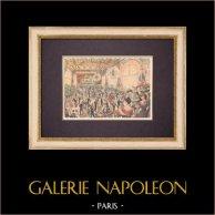 Dance Party - Great Meeting Room - Petit Journal - Parigi - 1903 | Incisione xilografica originale stampata in cromotipografia. Anonima. Retro stampato. 1903