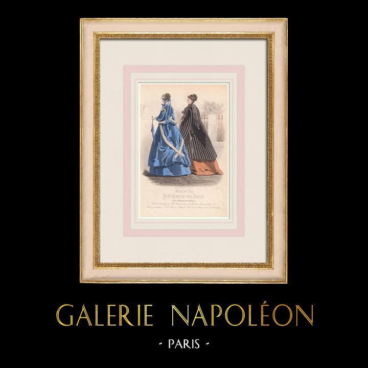 Gravures Anciennes & Dessins | Gravure de Mode - Paris - Mme Bricart | Taille-douce | 1855