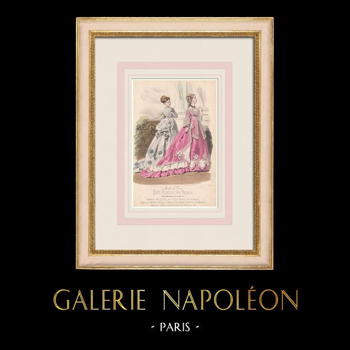 Antique Prints & Drawings | Fashion Plate - Paris - Mme du Ric | Intaglio print | 1855
