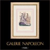 Gravure de Mode - Paris - Mme Mallard - Parfumeries de Faguer | Gravure originale en taille-douce sur acier dessinée par Preval. 1855