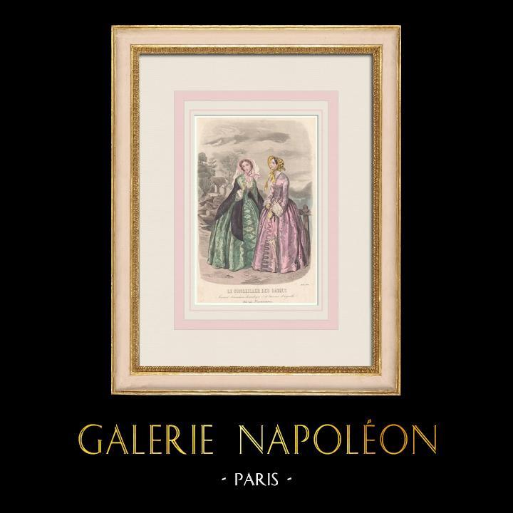 Antique Prints & Drawings   Fashion Plate - Paris - Août 1851   Intaglio print   1851