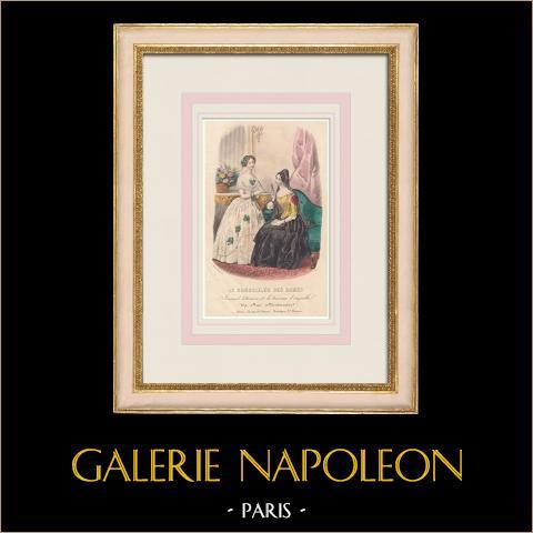 Grabado de Moda - París - Anaïs Toudouze - 169 Rue Montmartre - Paris | Grabado original en talla dulce sobre acero dibujado por Anaïs Toudouze. 1855