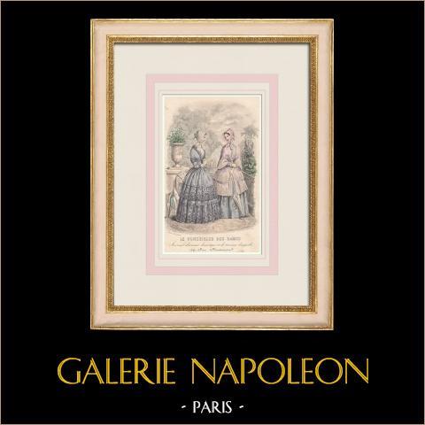 Grabado de Moda - París - Le Conseiller des Dames - Anaïs Toudouze | Grabado original en talla dulce sobre acero dibujado por Anaïs Toudouze. 1855