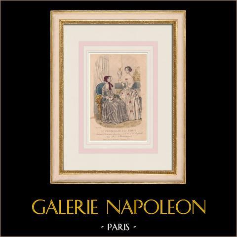 Grabado de Moda - París - 1849 - Le Conseiller des Dames - 169 Rue Montmartre | Grabado original en talla dulce sobre acero grabado por Thierry. 1849