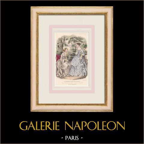 Grabado de Moda - París - Septembre 1851 - Anaïs Toudouze | Grabado original en talla dulce sobre acero dibujado por Anaïs Toudouze. 1851