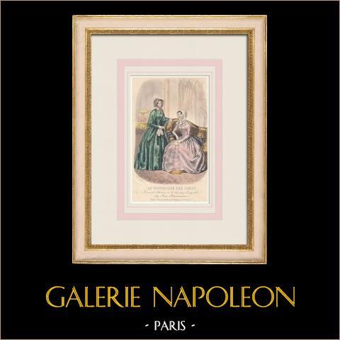 Grabado de Moda - París - Laure Colin | Grabado original en talla dulce sobre acero dibujado por Laure Colin. 1855