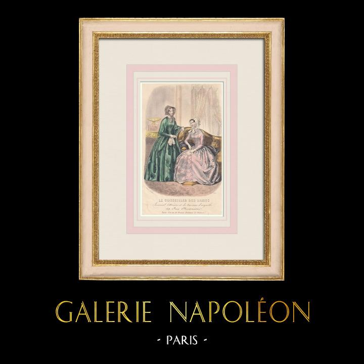 Antique Prints & Drawings   Fashion Plate - Paris - Laure Colin   Intaglio print   1855