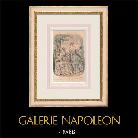 Grabado de Moda - París - Août 1848 - Le Conseiller des Dames | Grabado original en talla dulce sobre acero. Anónimo. 1848