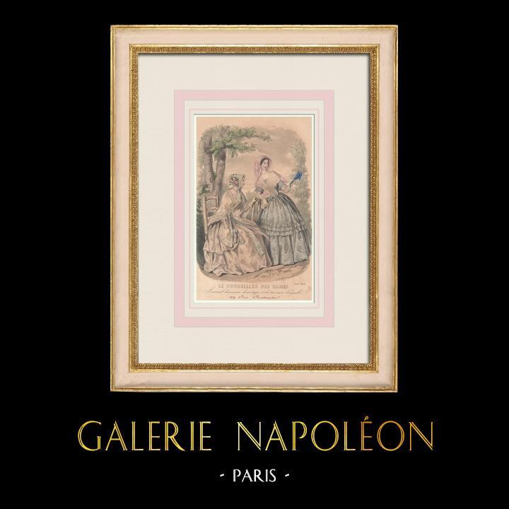 Antique Prints & Drawings | Fashion Plate - Paris - Août 1848 - Le Conseiller des Dames | Intaglio print | 1848