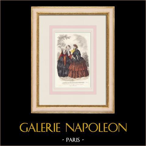 Grabado de Moda - París - Le Conseiller des Dames et des Demoiselles | Grabado original en talla dulce sobre acero dibujado por Anaïs Toudouze. 1855