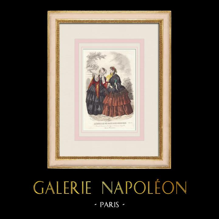 Antique Prints & Drawings | Fashion Plate - Paris - Le Conseiller des Dames et des Demoiselles | Intaglio print | 1855