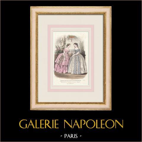 Grabado de Moda - París - Août 1855 - Le Conseiller des Dames et des Demoiselles | Grabado original en talla dulce sobre acero dibujado por Anaïs Toudouze. 1855