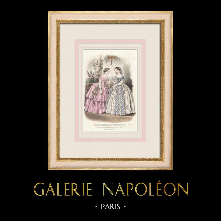 Gravures Anciennes & Dessins   Gravure de Mode - Paris - Août 1855 - Le Conseiller des Dames et des Demoiselles   Taille-douce   1855