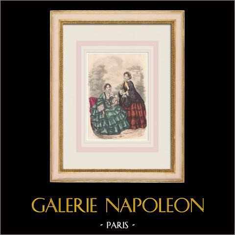Grabado de Moda - París - Mai 1855 - Le Conseiller des Dames et des Demoiselles - 159 Rue Montmartre | Grabado original en talla dulce sobre acero dibujado por Anaïs Toudouze. 1855