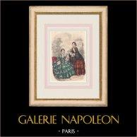 Gravure de Mode - Paris - Mai 1855 - Le Conseiller des Dames et des Demoiselles - 159 Rue Montmartre