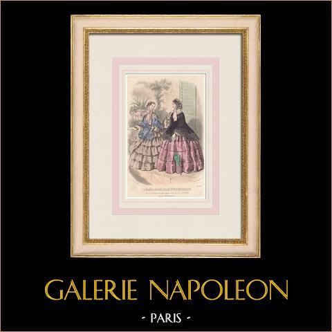 Grabado de Moda - París - Juin 1855 - Le Conseiller des Dames et des Demoiselles - 159 Rue Montmartre | Grabado original en talla dulce sobre acero dibujado por Anaïs Toudouze. 1855