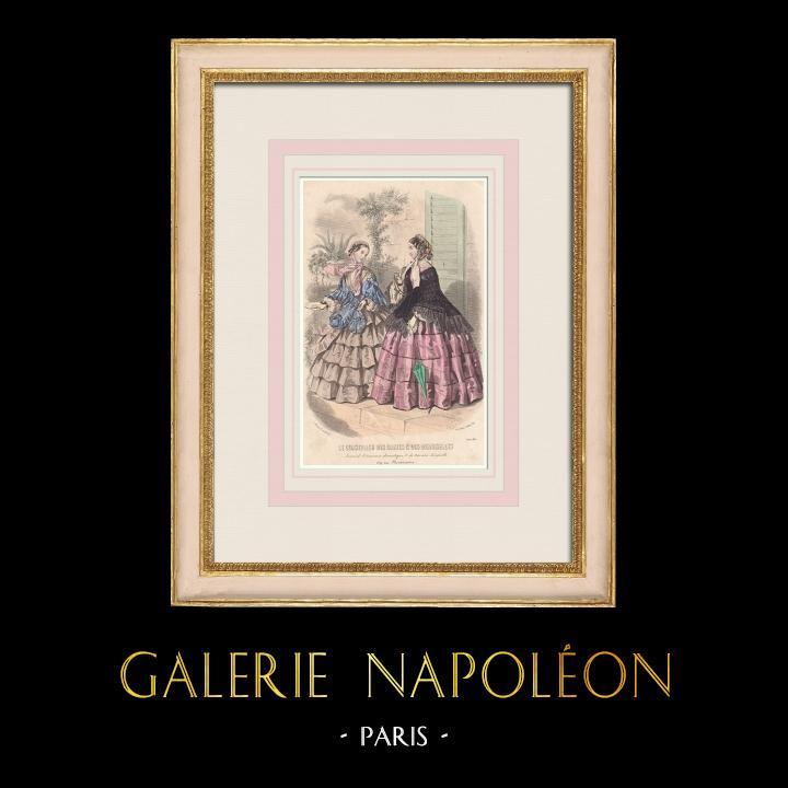 Antique Prints & Drawings | Fashion Plate - Paris - Juin 1855 - Le Conseiller des Dames et des Demoiselles - 159 Rue Montmartre | Intaglio print | 1855