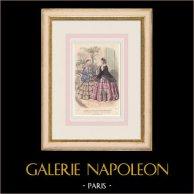 Gravura de Moda - Paris - Juin 1855 - Le Conseiller des Dames et des Demoiselles - 159 Rue Montmartre