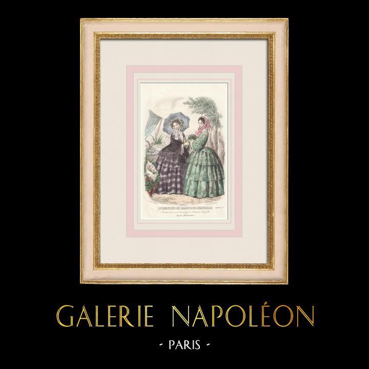 Gravures Anciennes & Dessins | Gravure de Mode - Paris - Septembre 1855 - Le Conseiller des Dames et des Demoiselles - 159 Rue Montmartre | Taille-douce | 1855