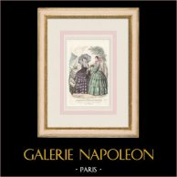 Gravure de Mode - Paris - Septembre 1855 - Le Conseiller des Dames et des Demoiselles - 159 Rue Montmartre