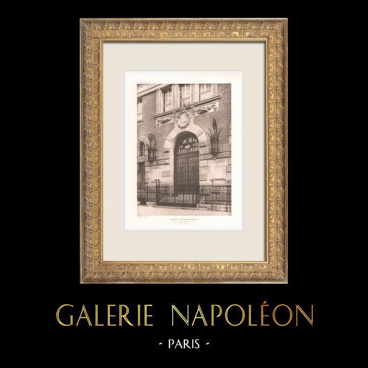 Gravures Anciennes & Dessins | Institut Océanographique de Paris - Porte d'entrée (Henri-Paul Nénot, architecte) | Héliogravure | 1911