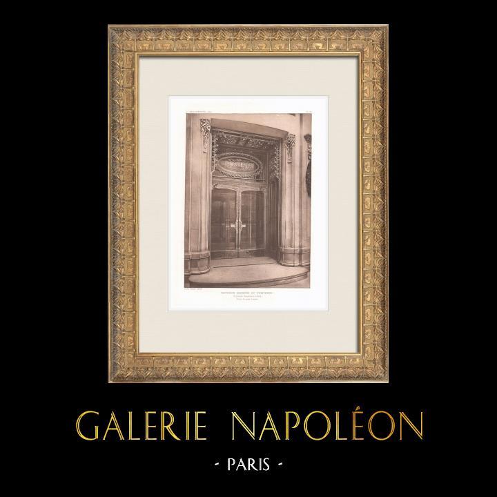 Gravures Anciennes & Dessins | Nouveaux Magasins du Printemps à Paris - Porte d'entrée (René Binet, architecte) | Héliogravure | 1911